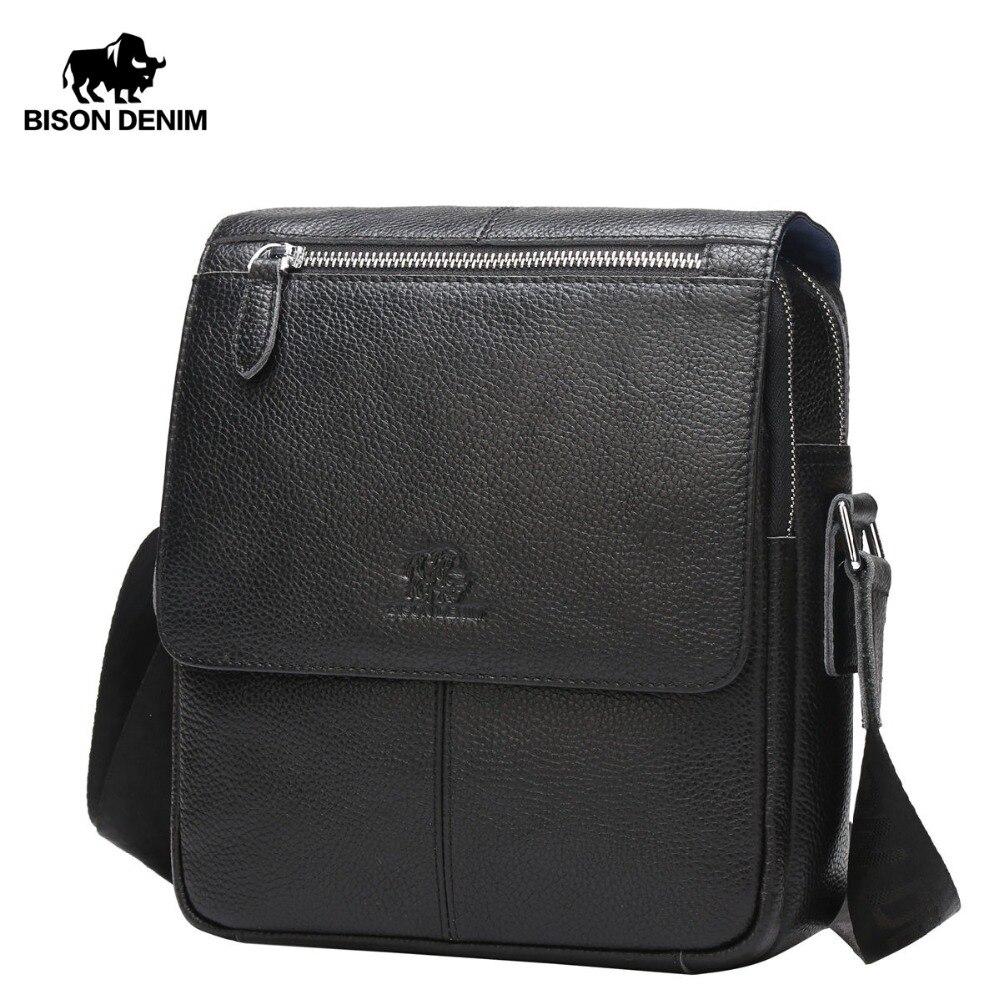 Бизон джинсовые Для мужчин 100% Сумки из натуральной кожи сумка Для мужчин классические черные Бизнес CrossBody мешок дизайнер корова кожаные сум...
