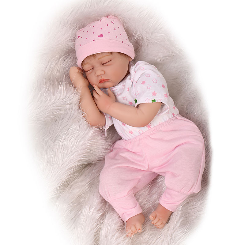 Fashion 55 cm Cute Close Eyes Reborn Baby Doll Safe Silicone Touch Real Soft Baby Stuffed Dolls For Children Birthday Xmas Gifts new fashion design reborn toddler doll rooted hair soft silicone vinyl real gentle touch 28inches fashion gift for birthday