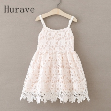 Hurave 2017 fashion girls dress lace girl clothing kids toddler princess new girl vestidos