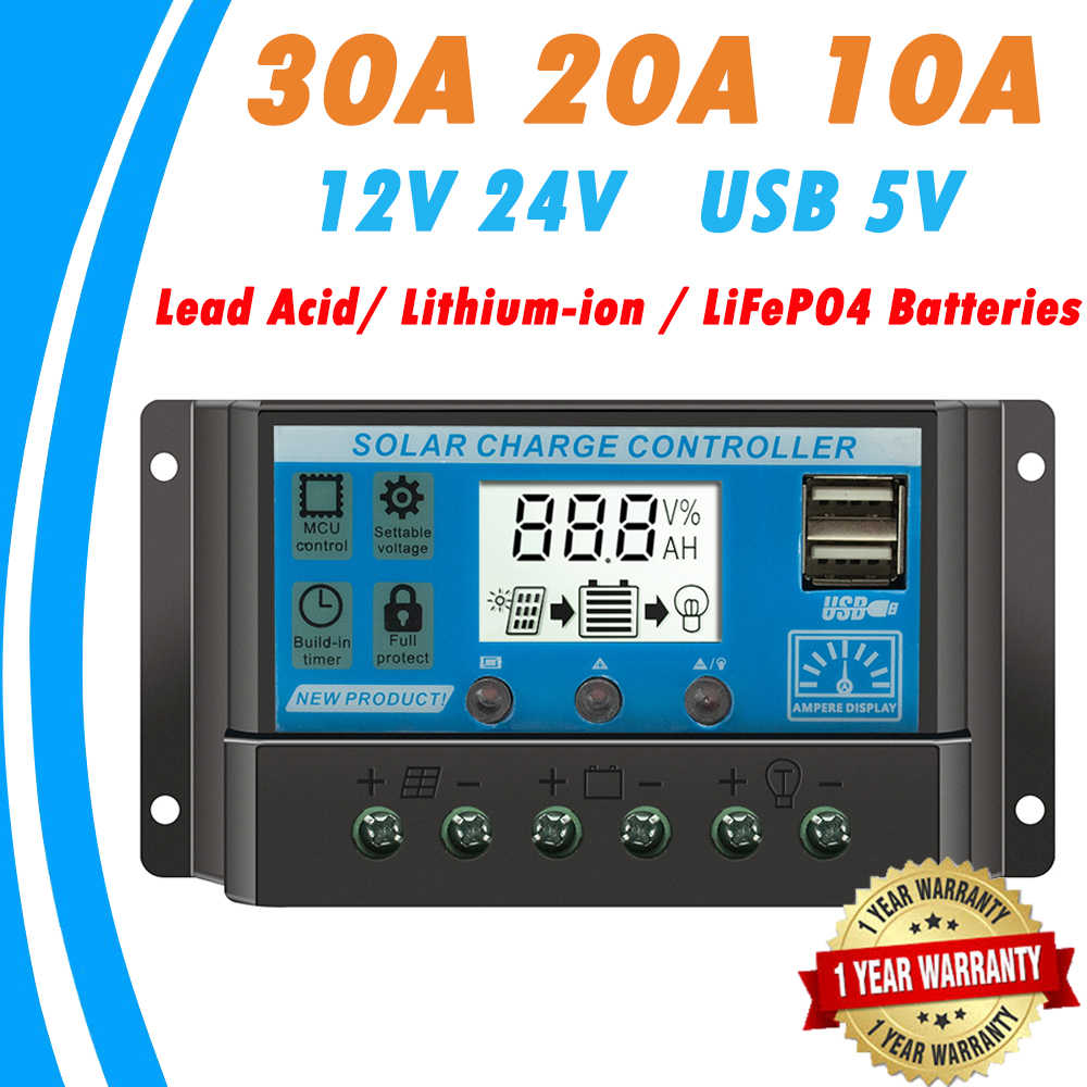 Solar Charge and Discharge Controller 30A 20A 10A for 12V 24V Lead Acid Lithium-ion LiFePO4 Battery With Dual USB LCD Regulator