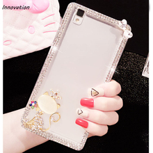 Luxury Diamond Bling Hard Plastic Crystal Clear Case For iphone 8 7 Plus 6 6S 5 5S Kitty Bow Cover Cute Phone Bag X