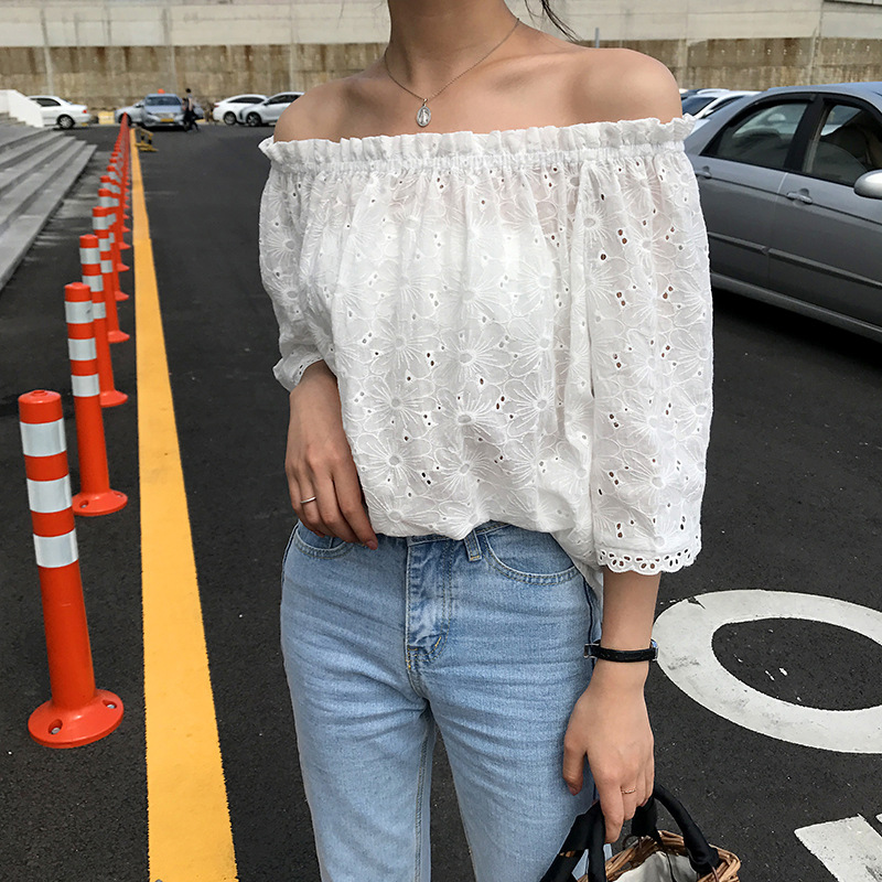 Sweet girls off shoulder white blouse shirt women lace hollow out casual blouse summer Kawai tops WS8760T