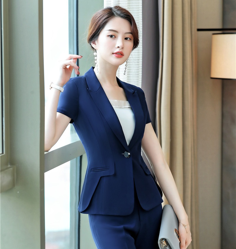 New 2019 Summer Formal Women Blazers And Jackets Short Sleeve Blue Work Wear Outfit Female Clothes