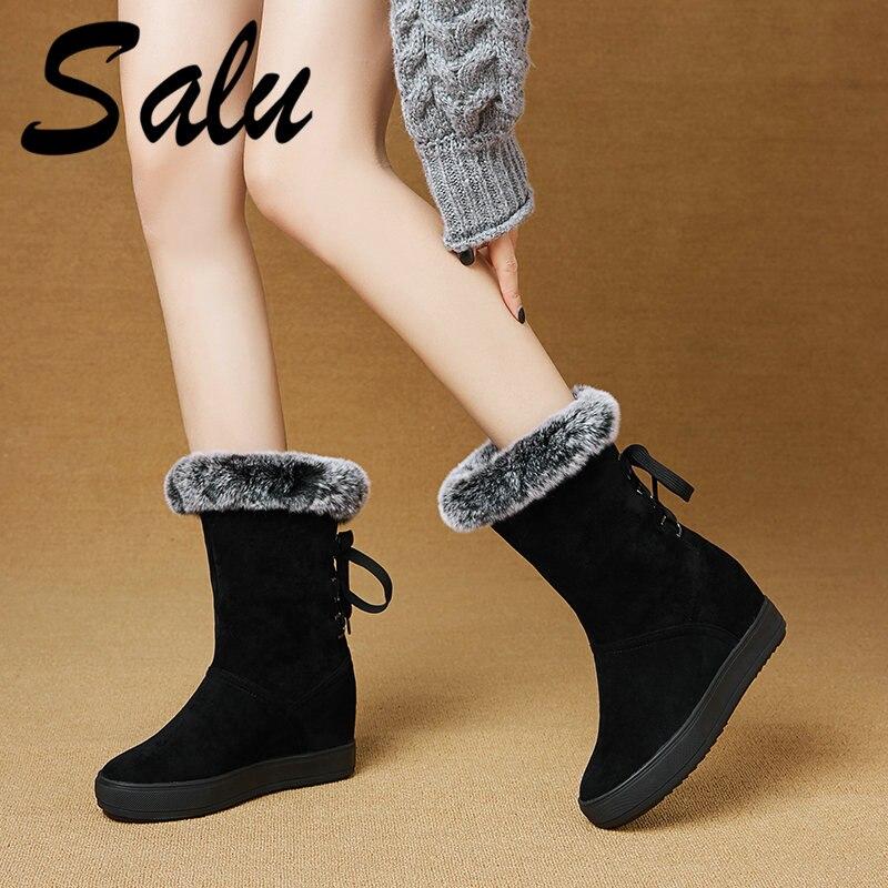 Salu nouvelle mode bottes de neige femmes hiver épais chaud femme mi-mollet bottes sauvage milieu plate-forme coton chaussures Botas Mujer