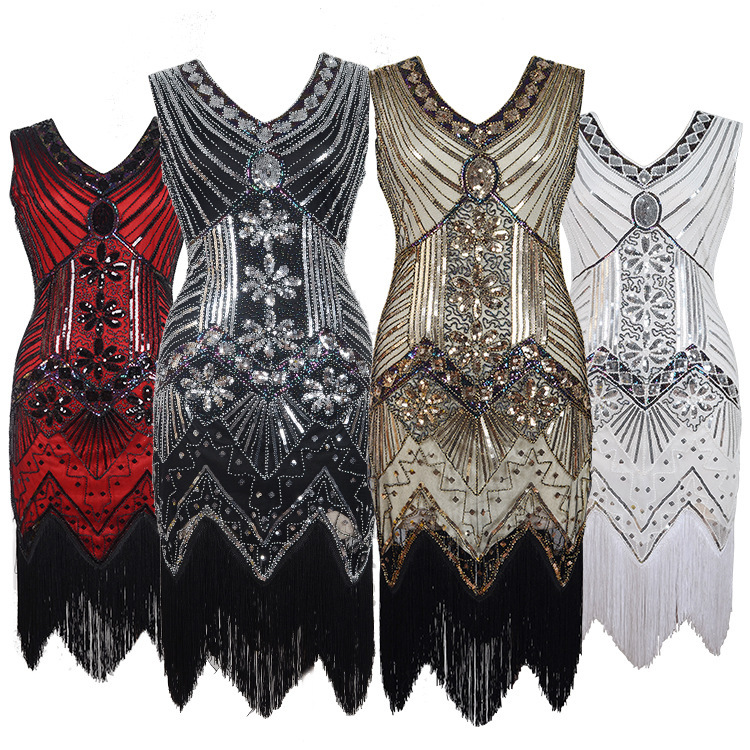 1920 Vintage Sequins Nail Bead Dress V-neck Fashionable Tassel Dress