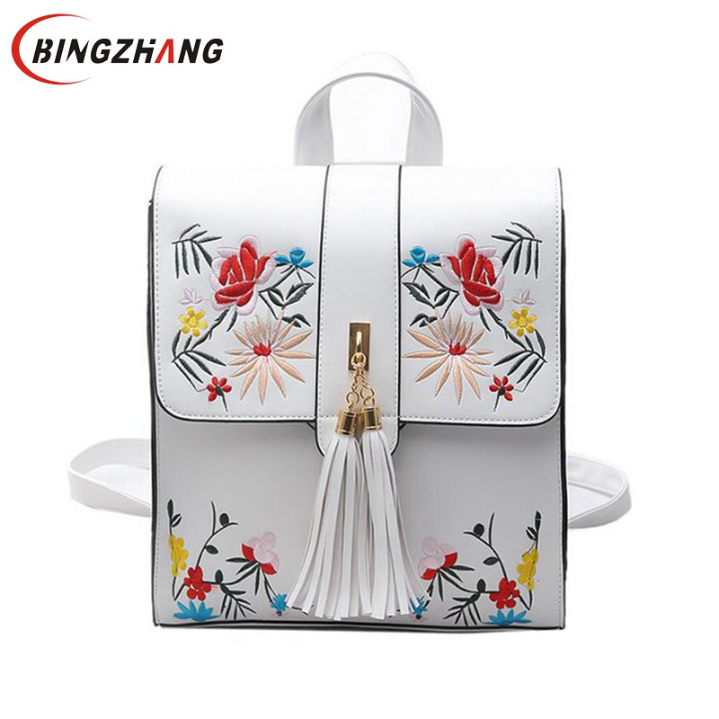 High Quality PU Embroidery Backpack School Bags For Teenagers Casual Black Trave Backpack Women Mochila Sac A Dos Femme L4-3000