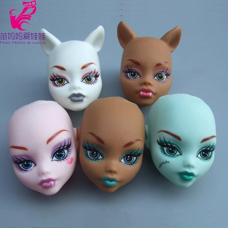 5 pièces/lot perruque en plastique souple bricolage tête pratique maquillage bricolage têtes de poupée pour poupée monstre