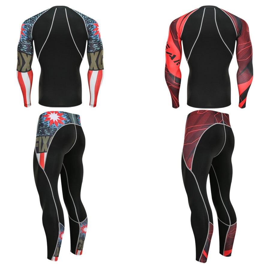 Men's Running Thermal Underwear Set 2019 New Men's Set Fitness Warm Compression Tights 2 Piece Tracksuit Men Jogging Suits S-4XL