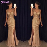 YQLAN Gold Rhinestones Long Prom Dresses Mermaid Evening Party Dress Real Photos Tulle S