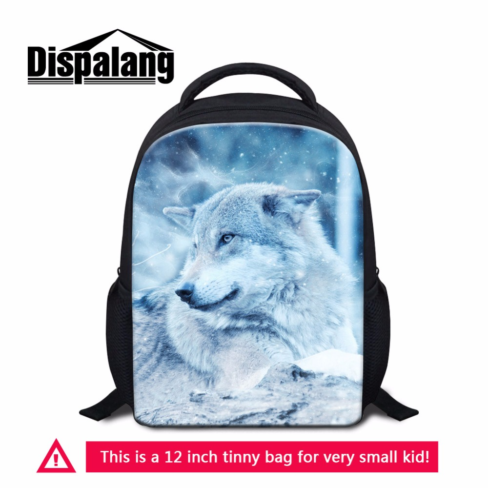 Dispalang Cool Wolf Kids School Backpacks Animal Children Bookbag For Preschoolers Mini Bagpack Nursery Satchel Student Packs