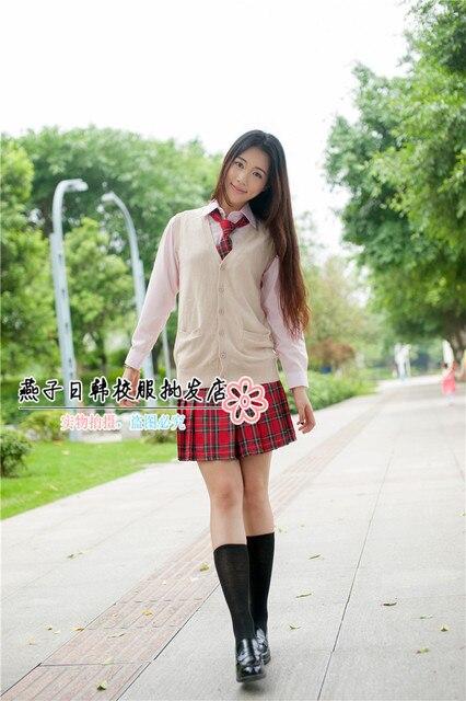 New School Uniforms Long Sleeved Shirt Uniforms Japan Jk Beige Sleeveless Cardigan Suit Japanese Schoolgirl