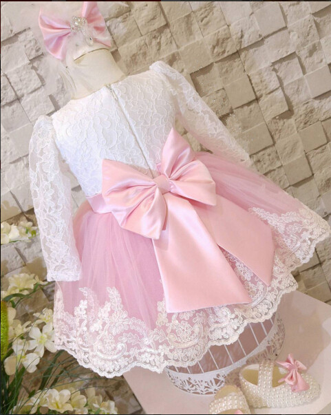 Lovely lace long sleeves little princess pink performing thanksgiving dress kids graduation dresses baby 1st birthday outfit pink lace up design cold shoulder long sleeves hoodie dress