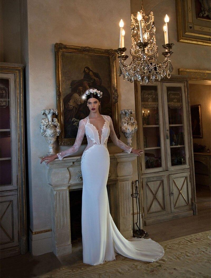 Moda blanco Vestidos de Novia 2017 sin respaldo de manga larga apliques de encaj