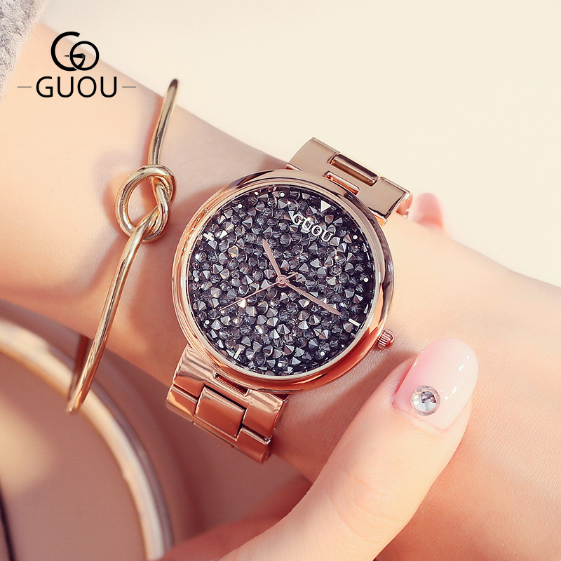 GUOU Brand Watch Fashion Quartz Women Watches full rhinestone stainless steel Luxury Ladies Dress watches relogio feminino цена