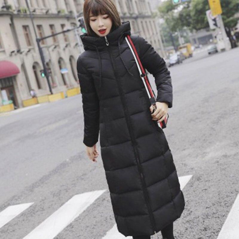 Long Hooded Thicken Slim Warm Down Coats Women Casual Solid Pockets Zipper Cotton Outwear Female Fashion Hardy Down Jackets New