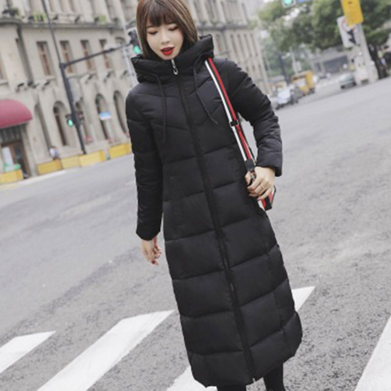 Long Hooded Thicken Slim Warm   Down     Coats   Women Casual Solid Pockets Zipper Cotton Outwear Female Fashion Hardy   Down   Jackets New
