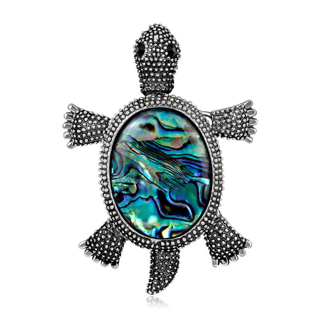 Trendy Vintage Alloy Abalone Shell Turtle Tortoise Brooches Pins for Women  Fashion Animal Brooch Corsage Jewelry ae284ded4b09