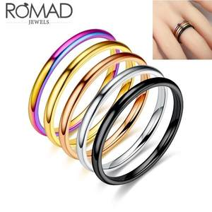 2mm Titanium Steel Extremely Simple Fine Rings For Man Women Silver Gold Black Rose Gold
