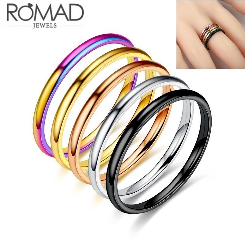 2mm Titanium Steel Extremely Simple Fine Rings For Man Women Silver Gold Black Rose Gold Multi Jewelry Female Wedding Gift Ring