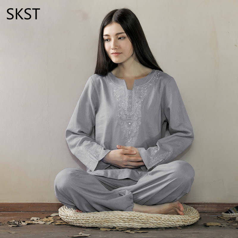 Women Yoga Suit Loose Trousers Tops Set Ladies Linen Outdoor Yoga Clothes Zen Meditation Clothing brand 2016 spring summer yoga clothing set cotton linen meditation clothes high quality women buddhist set sports suits kk395 20