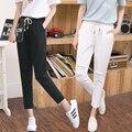 Kesebi J2FE219#6082 2016 Autumn New Women Elastic Drawstring White Hole Plus Size Harem Pants Female Loose Casual Trousers