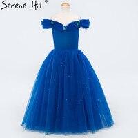 Baby Sequined Tulle Flower Girl Dresses Blue Sleeveless Girls Pageant Dresses Kids Evening Gowns 2017 Serene