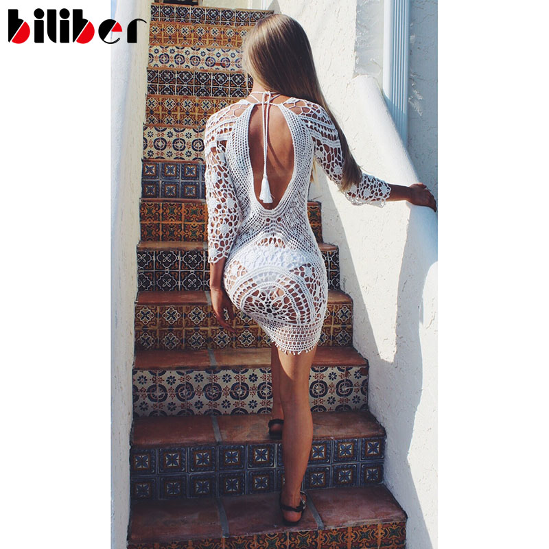 42c0428f5b641 2016 Sexy lace swimwear cover ups hook flower long sleeve beach cover up  summer dress pareo tunic dress as bikini cover up-in Cover-Ups from Sports  ...