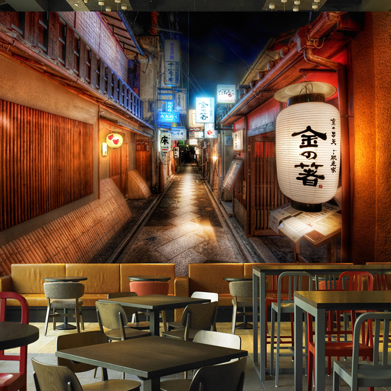 Retro Street Japanese Restaurant 3D Mural Wallpaper Modern