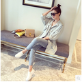 2016 Spring Women Trench Coat Thin Full Sleeve O-Neck Draw String Coats Sky Blue 1011