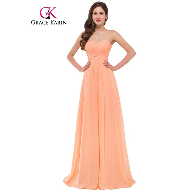 Grace Karin Sweetheart Long Bridesmaid Dress 2017 Ruched Bodice Chiffon Wedding Party Elegant Bridesmaid Party Formal Dresses