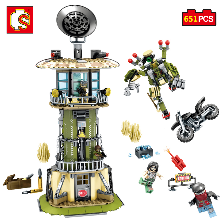 Sembo Toy Military Watchtower Building Blocks Bricks Compatible Legos City Action Figures Enlighten Bricks Toy For Children diy toys military army building blocks defensive wall action figures enlighten toy for children city