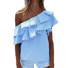 Girls Striped Shirts Ruffles Sexy Off Shoulder Summer Women Stripe Blouses Plus Size Ruffled Shirt Blusas Femininos GV593
