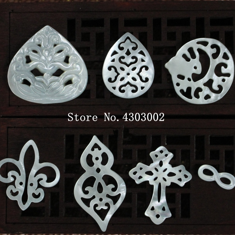 10pcs/lot 100% Real Natural Hollow Flower Mother Of Pearl Shell For DIY Jewelry Leaf &  Infinity MOP Pearl Shell For Earrings