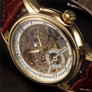 Image 2 - 男性腕時計高級ゴールデンスケルトン機械式スチームパンク男性時計自動腕時計革ストラップヘレン Horloges