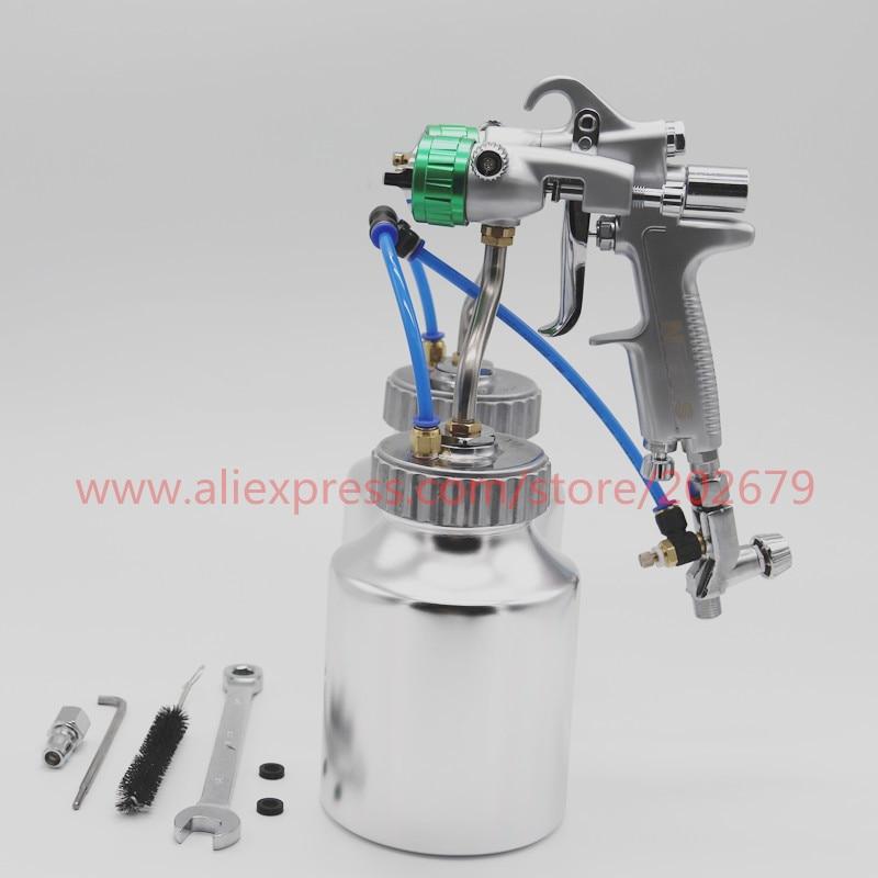 free shipping HVLP newest type Double Nozzle Spray Gun Pressure Feed Spray Gun Nano Chrome Paint