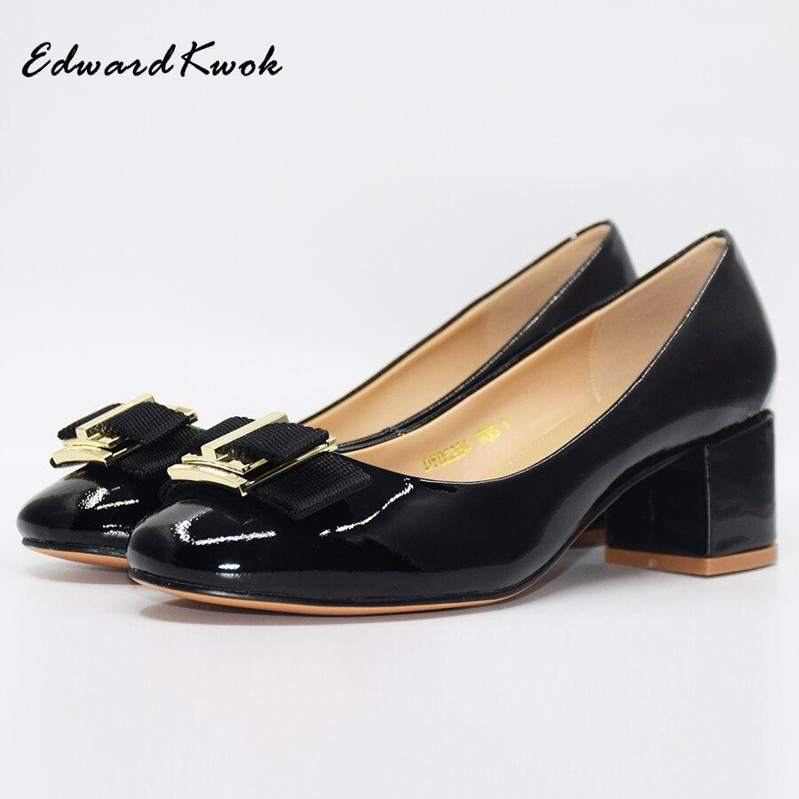 2018 New Women Square Heel Genuine Leather Shoes Pumps Bow Designer For  Wedding. DA045 4720e35e6a28