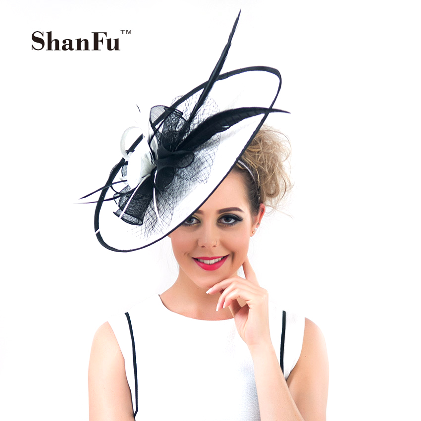 ShanFu Vintage Large  Wedding Hats White Feather Fascinators Headband for Women Tea Party  tocados sombreros bodas SFC12390 inc new white black women s large l feather print seamed shift dress $79 013