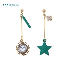 2017 New Hot 1PC Fashion Jewelry Form Sansummer Clock Star Inlay Gem Hollow Lacework Personality Exquisite Drop Earrings цена и фото