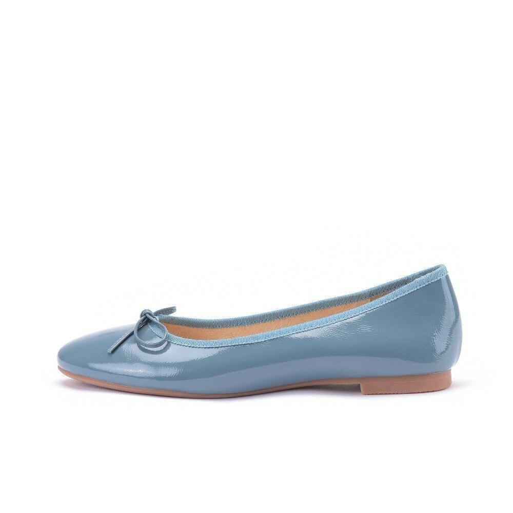 L03 Estilo De apricot Cuero Punta Pink Ballet Negro Sólido Zapatos azul Europeo Dulce En Llena Krazing nudo Redonda Color Olla Pisos Mariposa Slip qwZnfCxEU1