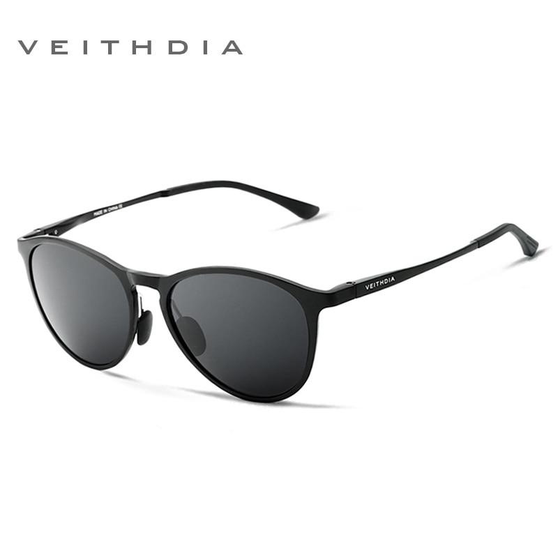 VEITHDIA Unisex Retro Aluminum Magnesium Mirror Sunglasses Polarized Lens Vintage Eyewear Driving Sun Glasses Men/Women 6625