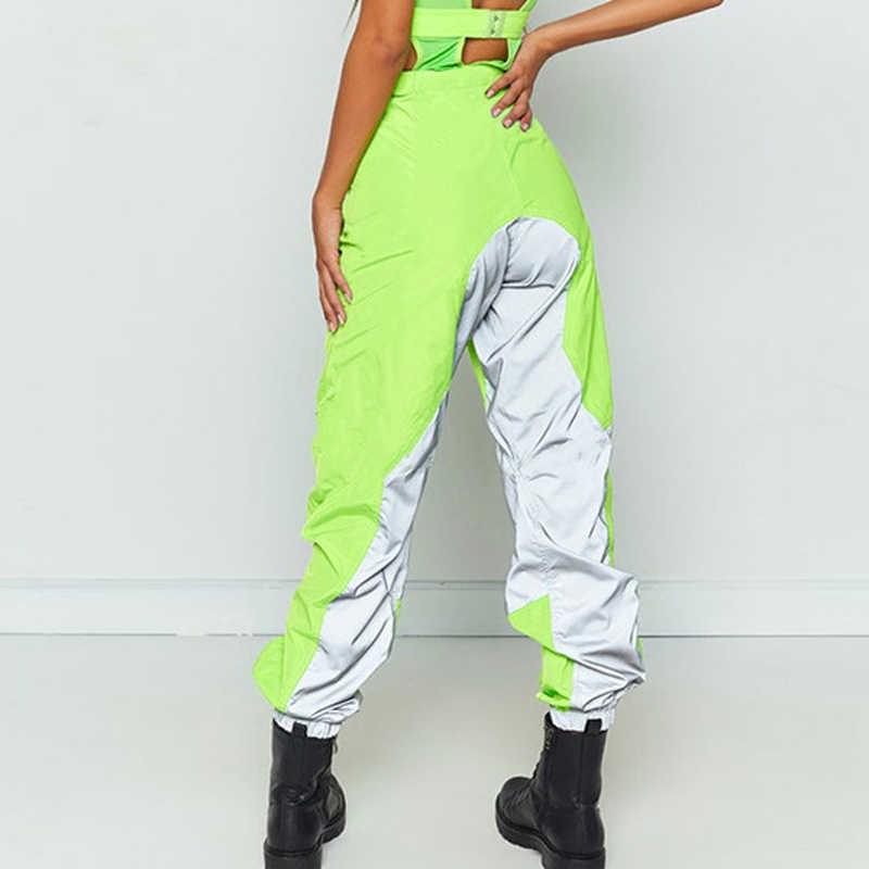 Pantalones Jogger Reflectantes De Color Verde Neon Brillante Para Mujer Pantalones Harem De Cintura Alta Con Cinturon De Hebilla Pantalones Sueltos Casuales De Hip Hop Para Chicas Pantalones Y Pantalones Capri Aliexpress