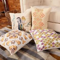 50PCS/STYLE OEM Chinese Style Embroidered Flower Bird Black Vintage Cotton Linen Throw Pillow Case Cushion Cover Home Sofa Decor