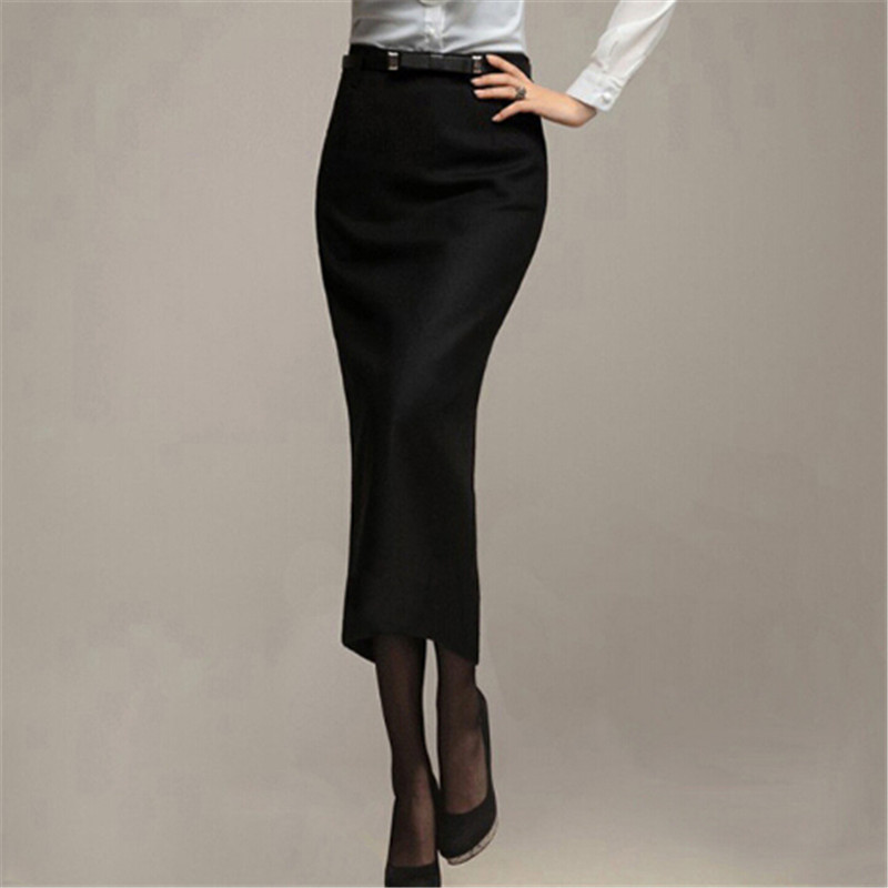Black Long Pencil Skirt - Skirts