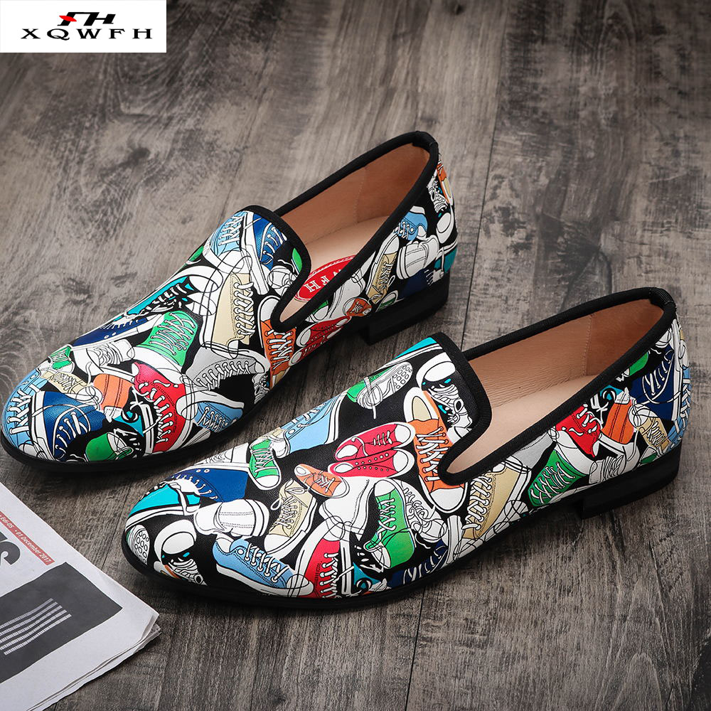 2019 Men Leather Loafers Men Hand Print Casual Shoes Party and Wedding Men Dress Shoes Big Size 13 for Men