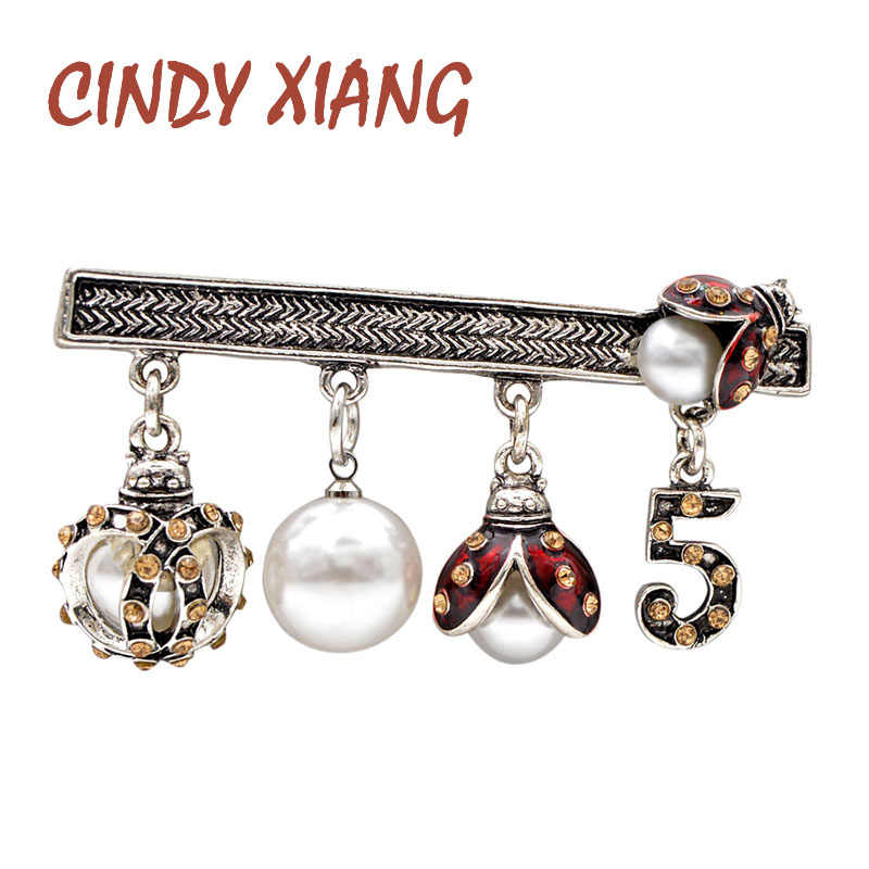 Cindy Xiang Strass Bug Lieveheersbeestje Broches Voor Vrouwen Opknoping Stijl Fashion Vintage Jas Broche Pin Kids Accessoires Insect Gift