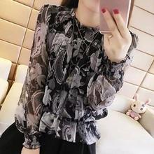 New 2019 long sleeve floral print women\s clothing women blouse shirt fashion lantern stand collar feminine tops blusas