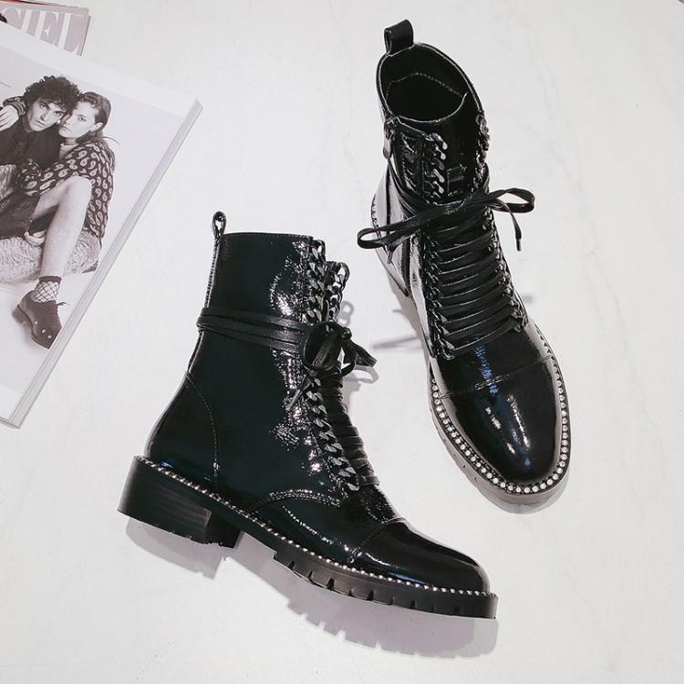850c8d8cee42 De Bout Rond Noir Cuir Liée En Talon Femme Pour Zapatos Luxe Cheville Mujer  Chaîne Femmes D hiver Chaussures Verni Caoutchouc Bottes ...