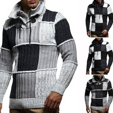 Mens Knit Pullover Stand Collar Slim Winter Warm Long Sleeve Sweater High Quality Hip Hop Streetwear Mans Sweaters