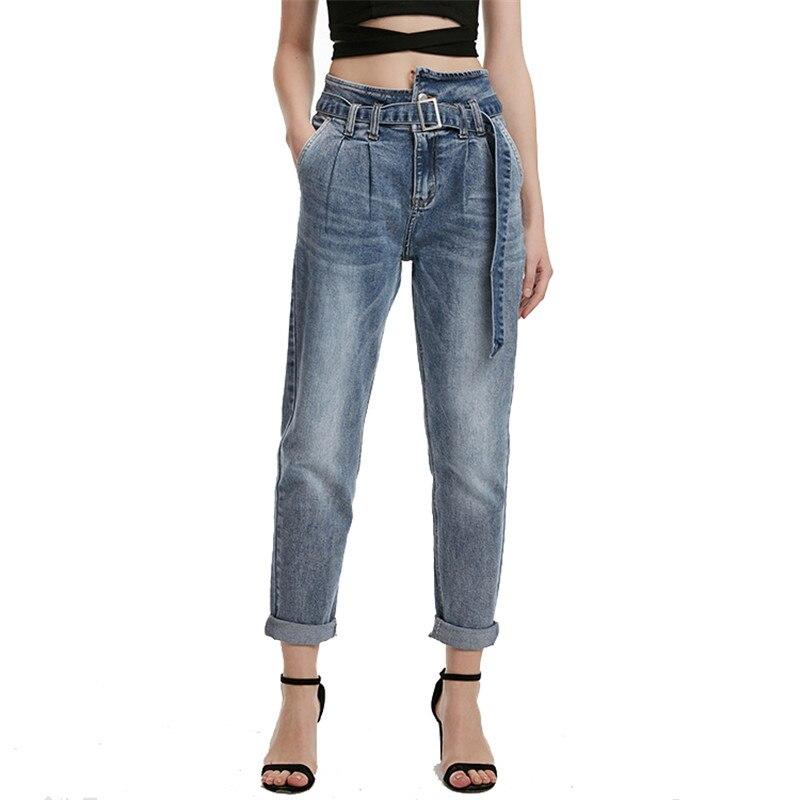 Denim Moruancle Taille Pantalons Avec Jeans Haute Ceintures Femmes xl Pour Xs De Lavé Élégant Dames Bleu Pantalon Des Mode wIzXw7r