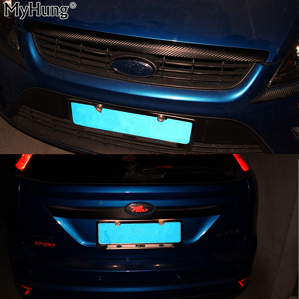 Auto Head Decorator Carbon Fiber Sticker Front Grille Molding Lid Strip Tail Trunk Boot Cover For Ford Focus 2 Car Styling